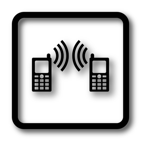 palmtop: Communication icon, black website button on white background. Stock Photo