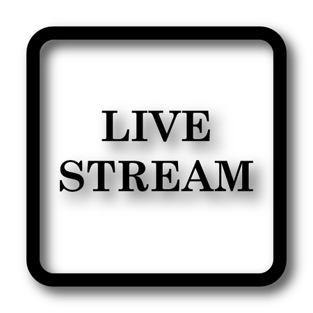 news cast: Live stream icon, black website button on white background. Stock Photo