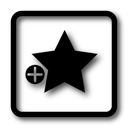favorites: Add to favorites icon, black website button on white background. Stock Photo