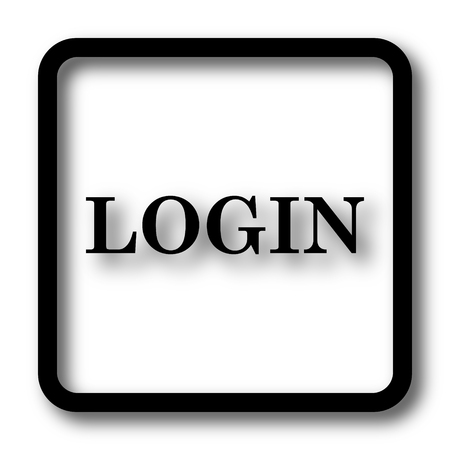 logging: Login icon, black website button on white background. Stock Photo