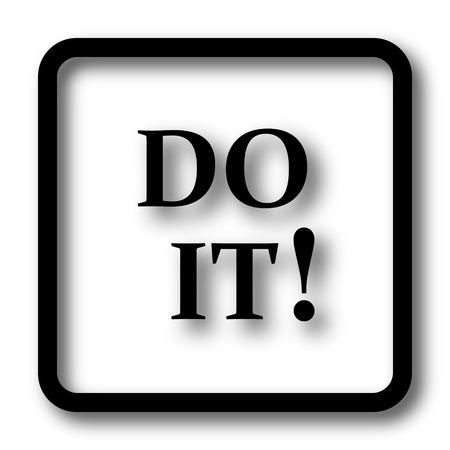 Do it icon, black website button on white background.