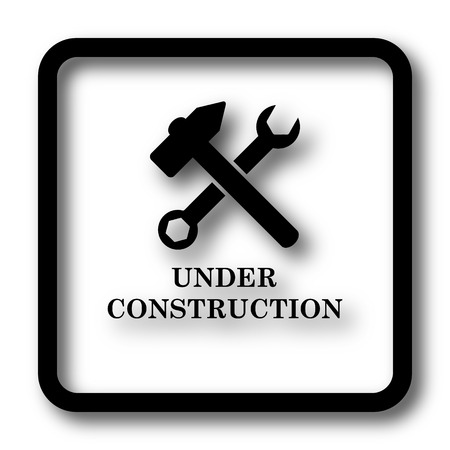 under construction icon: Under construction icon, black website button on white background.