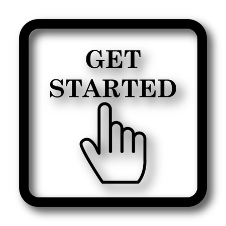 Get started icon, black website button on white background.