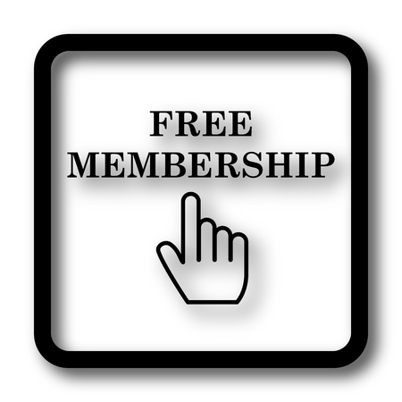 subscriber: Free membership icon, black website button on white background. Stock Photo