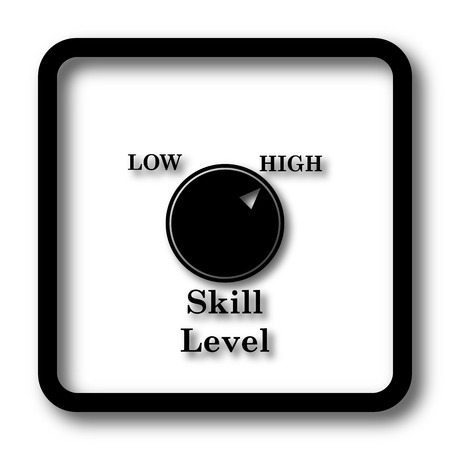 proficiency: Skill level icon, black website button on white background.