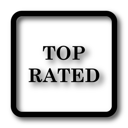 rated: Top rated  icon, black website button on white background.