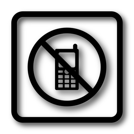 use regulation: Mobile phone restricted icon, black website button on white background.