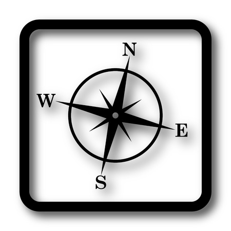 geodesy: Compass icon, black website button on white background.