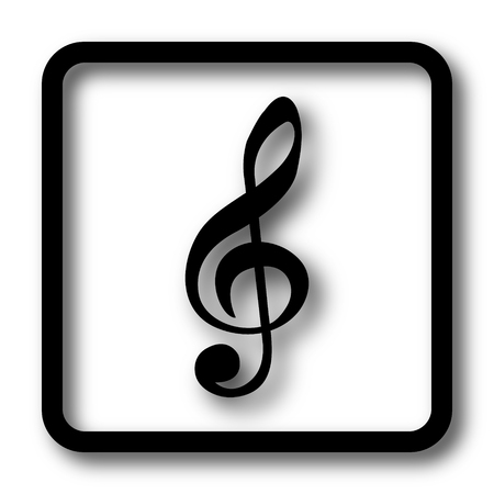 melodic: Musical note icon, black website button on white background. Stock Photo