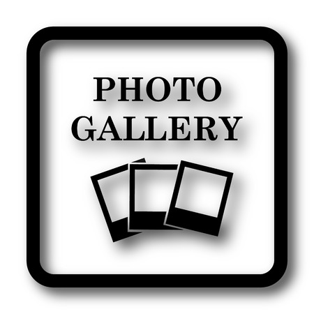 Photo gallery icon, black website button on white background.