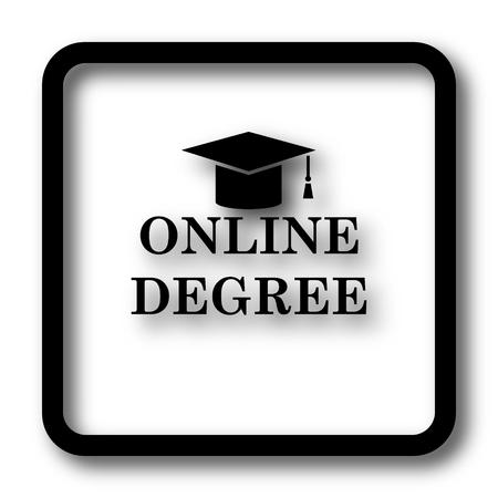 online degree: Online degree icon, black website button on white background.