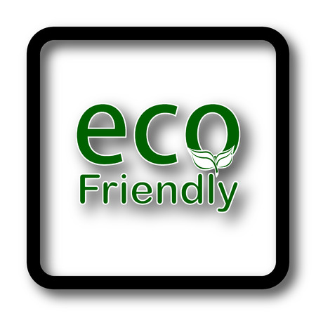 eco friendly icon: Eco Friendly icon, black website button on white background. Stock Photo