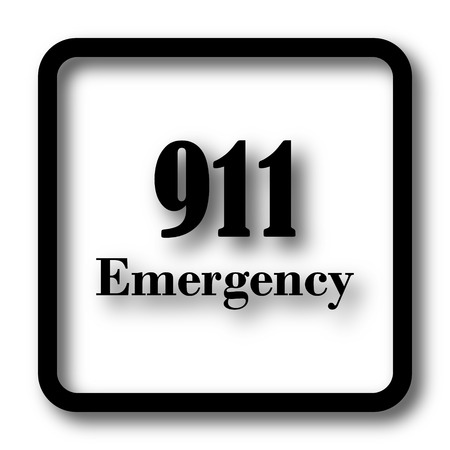 bad service: 911 Emergency icon, black website button on white background.