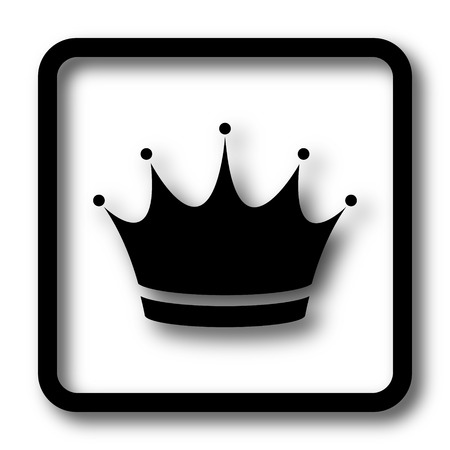 royal person: Crown icon, black website button on white background. Stock Photo