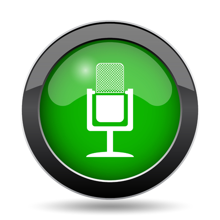 Microphone icon, green website button on white background. Stock Photo