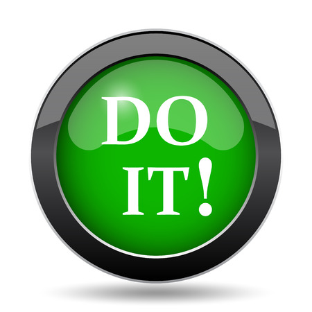 just do it: Do it icon, green website button on white background.