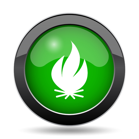 Fire icon, green website button on white background.