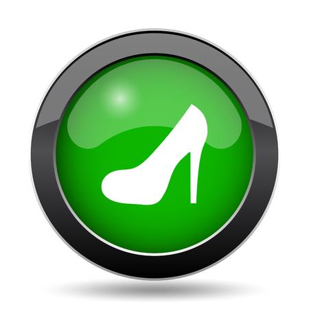 High heel icon, green website button on white background.