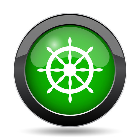 Nautical wheel icon, green website button on white background. Stock Photo