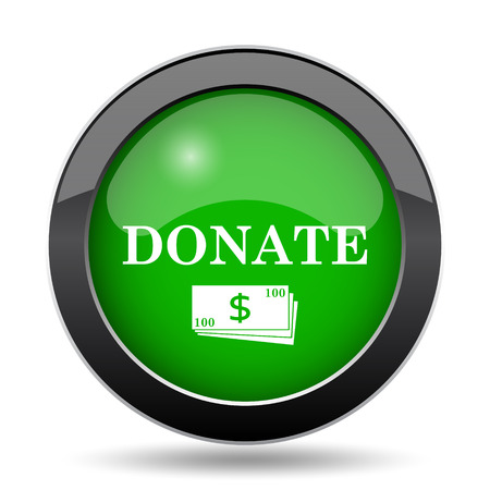 Donate icon, green website button on white background.