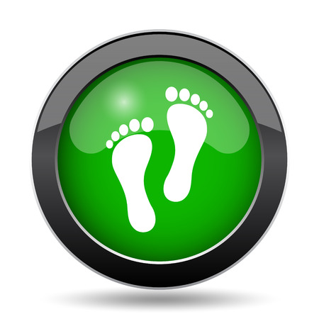 Foot print icon, green website button on white background.