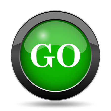 proceed: GO icon, green website button on white background. Stock Photo