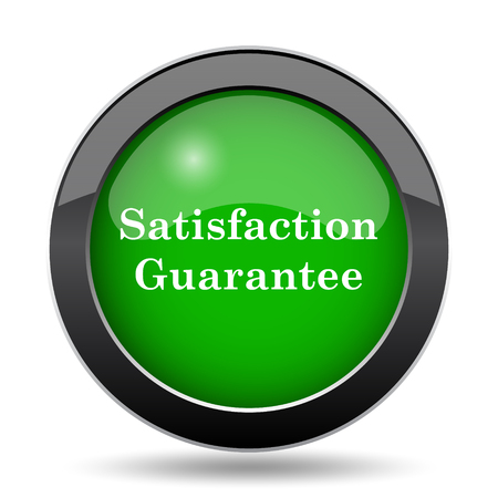 guarantee icon: Satisfaction guarantee icon, green website button on white background.
