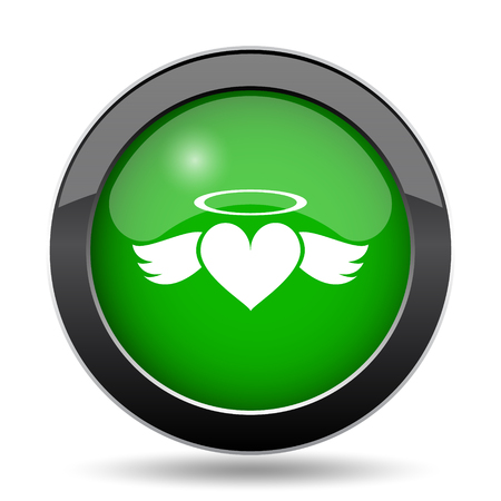 Heart angel icon, green website button on white background.