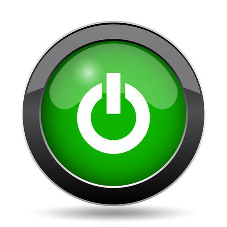 Power button icon, green website button on white background.