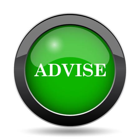 advise: Advise icon, green website button on white background.