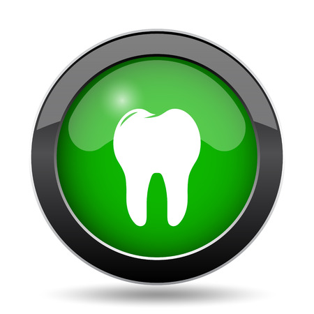 Tooth icon, green website button on white background. Stock Photo