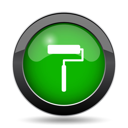 Roller icon, green website button on white background.