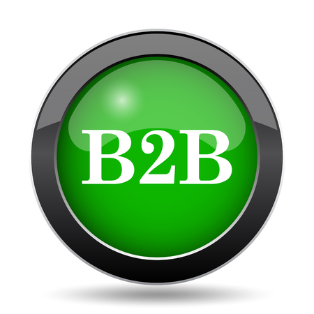 b2b: B2B icon, green website button on white background.