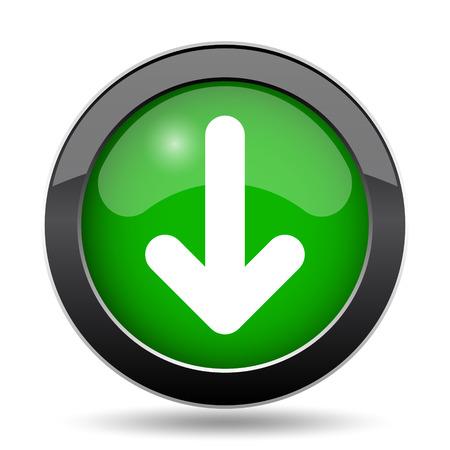 Down arrow icon, green website button on white background.