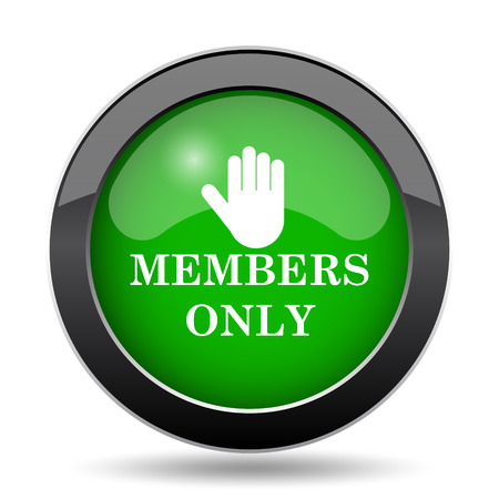 Members only icon, green website button on white background.