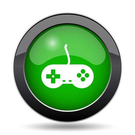 Gamepad icon, green website button on white background.