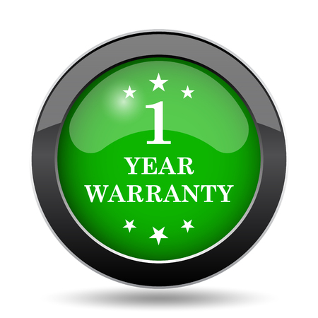 1 year: 1 year warranty icon, green website button on white background. Stock Photo
