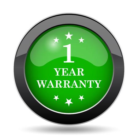 1 year warranty: 1 year warranty icon, green website button on white background. Stock Photo