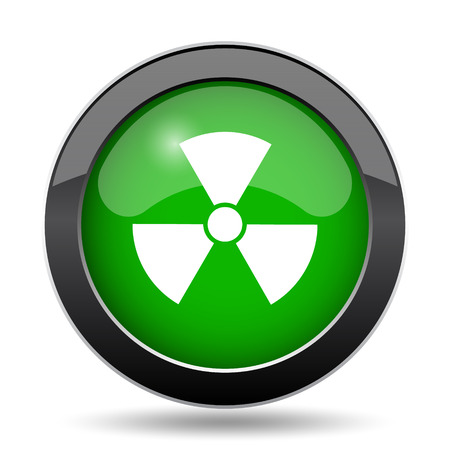 caution chemistry: Radiation icon, green website button on white background.