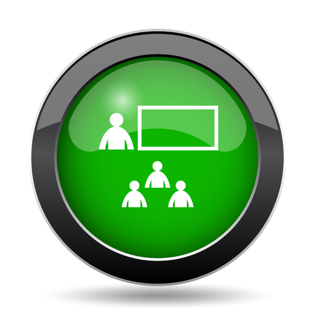 stage coach: Presenting icon, green website button on white background.