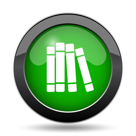Books library icon, green website button on white background.