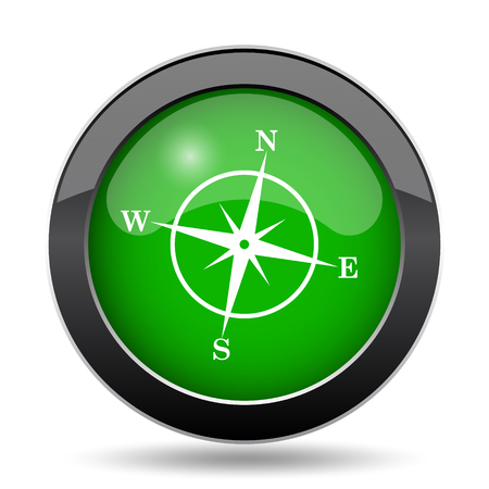 geodesy: Compass icon, green website button on white background.