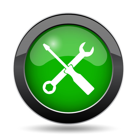 laptop repair: Tools icon, green website button on white background.