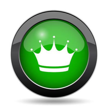 royal person: Crown icon, green website button on white background.