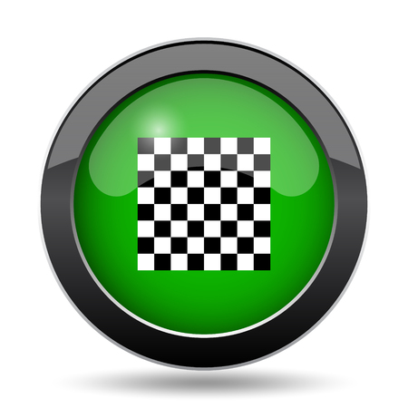 Finish flag icon, green website button on white background.