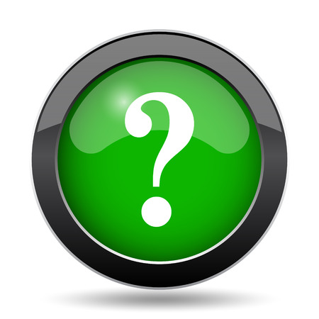 Question mark icon, green website button on white background.