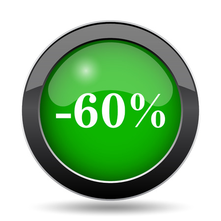 60: 60 percent discount icon, green website button on white background.