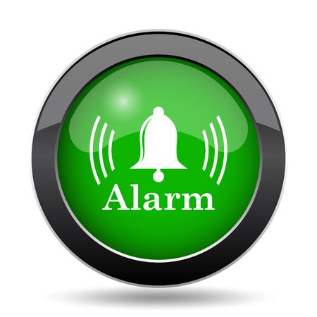safe and sound: Alarm icon, green website button on white background.