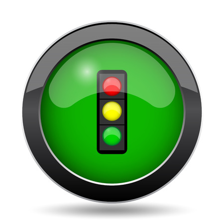 Traffic light icon, green website button on white background.