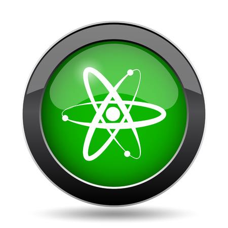 gamma radiation: Atoms icon, green website button on white background. Stock Photo